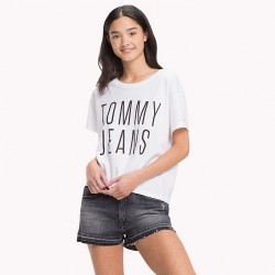 TJW CROPPED LOGO TEE T-SHIRT DONNA TOMMY JEANS