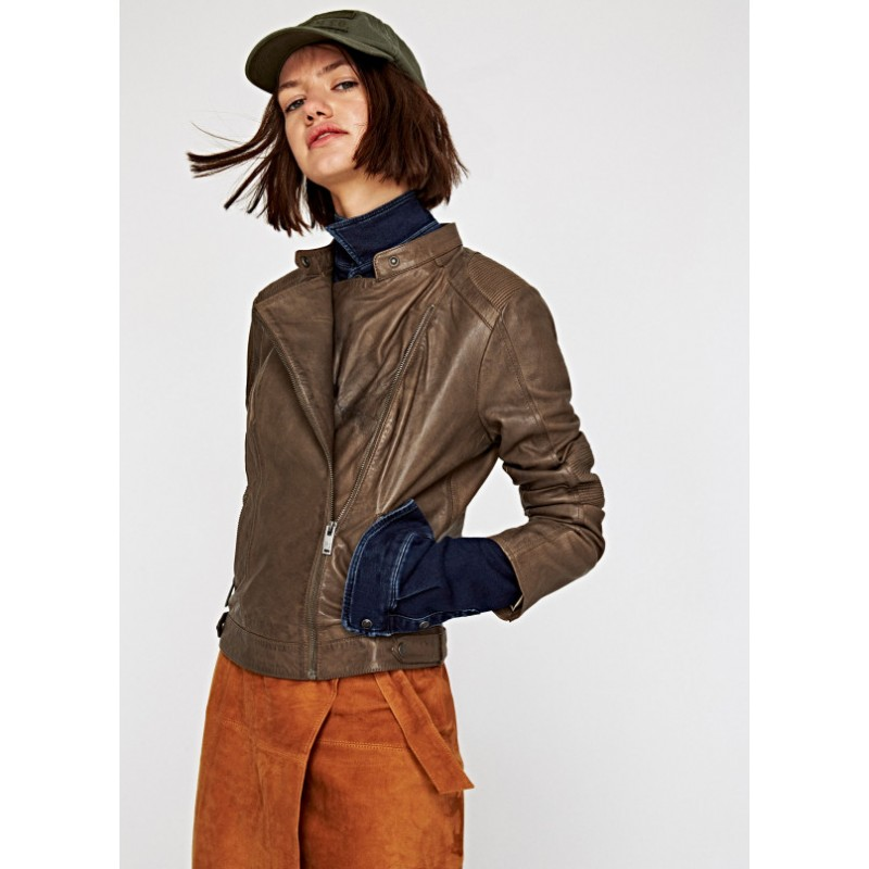 huge selection of 74547 1deba nicky-giubbotto-in-pelle-donna-pepe-jeans